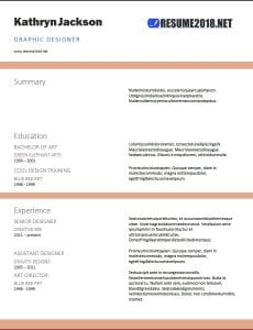 2018 resume template WORD