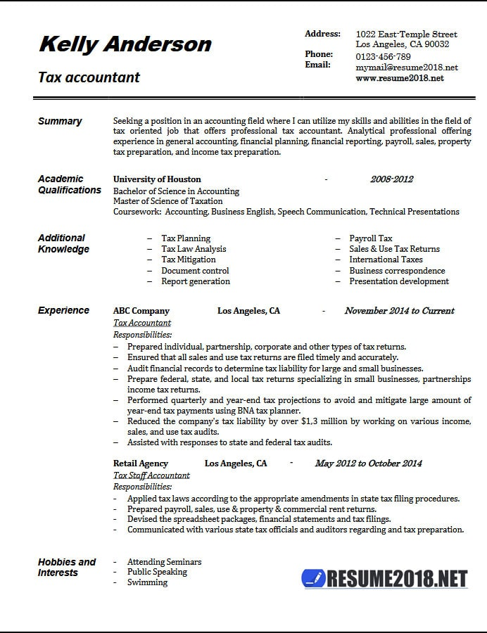 tax accountant resume example 2018